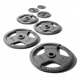 Olympisk grå metal vægtskive med håndtag (rund)