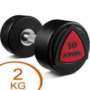Ziva Urethane faste håndvægte 2kg gummi (2 stk.)